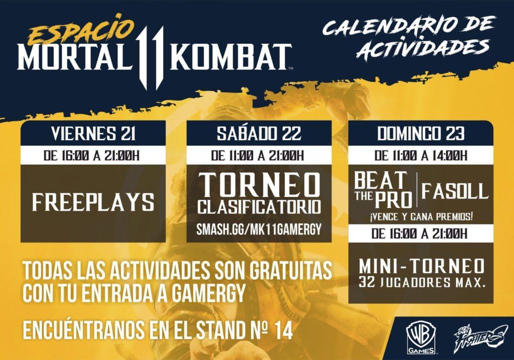 Calendario actividades MK11 Gamergy